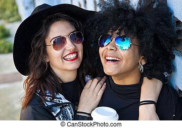 sourire, rue, filles