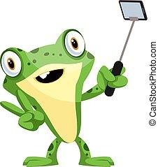sourire, selfie, mignon, illustration, prendre, arrière-plan., vecteur, grenouille, bébé, crosse, blanc