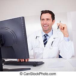 sourire, stéthoscope, docteur médical