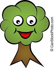 sourire, vecteur, arbre, dessin animé, figure