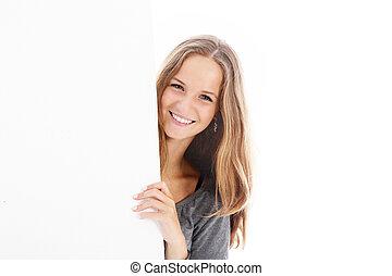 sourire, vide, planche, adolescent