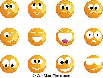 sourires, différent, humeur, couleur, jaune, gai