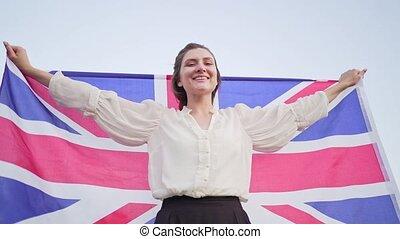 sourires, drapeau, grand, femme, patriote, rejoices, indépendant, britain., national