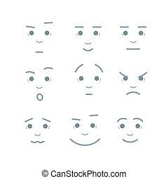 sourires, style, douleur, joie, set., choc, différent, émotions, créatif, tristesse, vecteur, faces, colère, sadness., expressions, dessin animé, inspiration