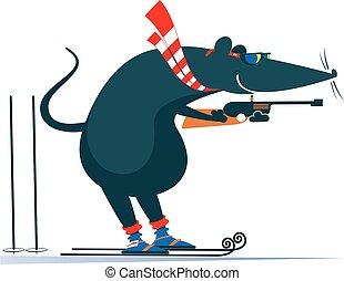 souris, concurrent, illustration, rat, biathlon, ou