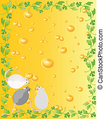 souris, fromage, contre, jaune
