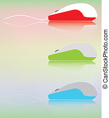 souris, informatique, trois, multicolore