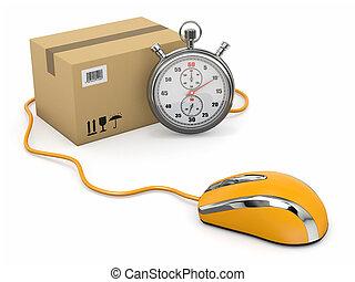 souris, package., exprès, delivery., ligne, chronomètre