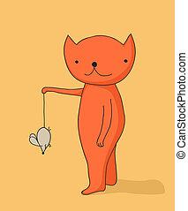 souris, tenue, chat