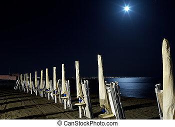 sous, entiers, plage, lune