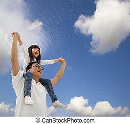 sous, fille, cloudfield, père, asiatique