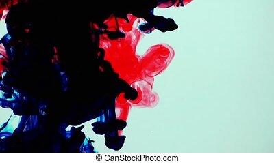 sous-marin, éclaboussure, coloré, encre