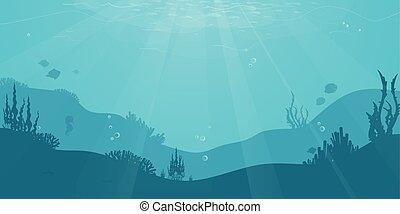 sous-marin, algue, silhouette, conception, vie mer, fish, mignon, dessin animé, fond, coral., plat, océan