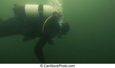 sous-marin, eau, équipement, river., sous, plongée, plongeur, natation