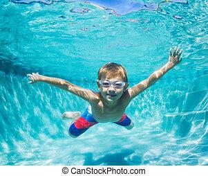 sous-marin, garçon, jeune, plongée, piscine, natation
