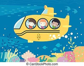 sous-marin, gosses école, étudiant, illustration