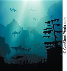 sous-marin, mondiale, bateau, sunken, requins