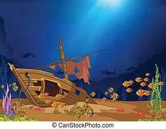 sous-marin, océan, mondiale