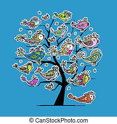 sous-marin, rigolote, arbre, conception, poissons, ton