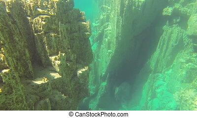 sous-marin, rochers, lacs, fond