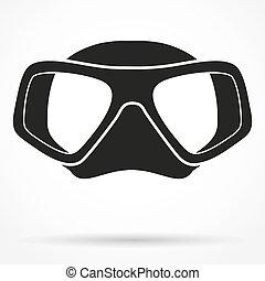 sous-marin, silhouette, symbole, masque, plongée, scaphandre