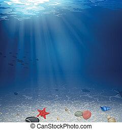 sous-marin, vecteur, fond