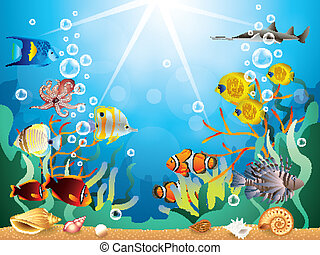 sous-marin, vecteur, illustration, mondiale