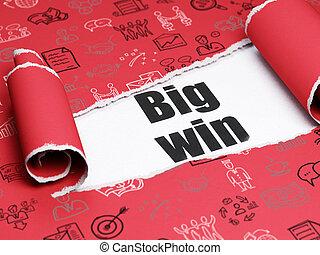 sous, papier, morceau, noir, concept:, gagner, grandes affaires, déchiré, texte