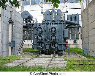sous-station, énorme, transformateur, industriel, puissance, a haute tension