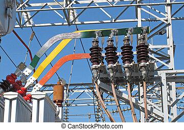 sous-station, cuivre, barres, insulators, électricité, électrique, transformateurs