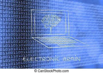 sous-titre, ordinateur portable, écran, cerveau, circuit, électronique