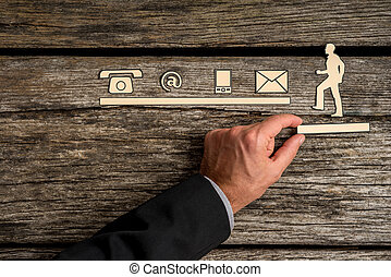 soutenir, icônes concept, assistance, contact, coupure, homme affaires, escalade, dehors, vers, homme