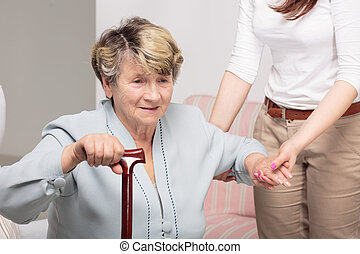 soutenir, marche, femme, soins, maison, crosse, personne agee, caregiver