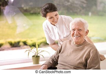 soutenir, soins, maison, personnes agées, amical, handicapé, sourire, infirmière, homme