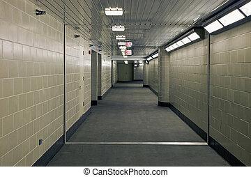 souterrain, couloir, garrage