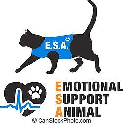 soutien, émotif, emblèmes, animal