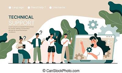 soutien, clients, ligne, technique, clients