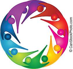 soutien, collaboration, gens, logo