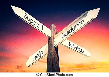 soutien, conseil, flèches, -, concept, quatre, poteau indicateur, direction, aide