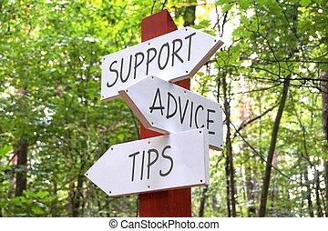 soutien, poteau indicateur, -, flèches, trois, conseil, concept, pointes