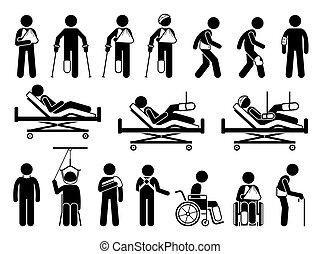soutien, produits, blessure, dû, orthopédie, douleur, corps, accident., monde médical