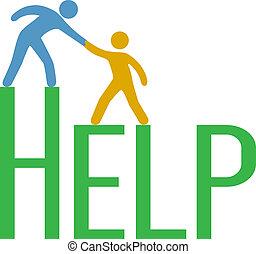 soutien, réponse, gens, étape, haut, trouver, aide