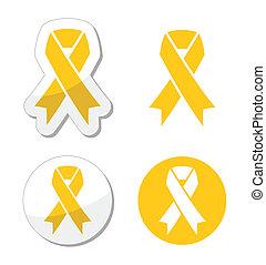soutien, ruban, -, troupes, jaune
