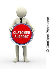 soutien, tenue, homme affaires, nous, client, 3d, bouton