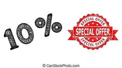 spécial, cachet, détresse, cent, offre, hachuré, icône, timbre, 10