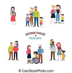 spécial, famille, familles, différent, gay, enfants, espèce, besoins, coulpe, mélangé