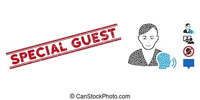 spécial, invité, ligne, conversation, mosaïque, psychanalyse, cachet, textured, icône