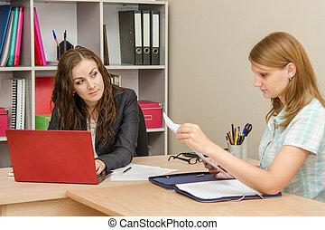 spécialiste, raidement, bureau, creuser, titres, client, regarde