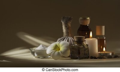 spa, ball., frangipanier, bougies, herbier, couleur, composition, flacons, fleur, beau, sel, huile, non, bol, classement