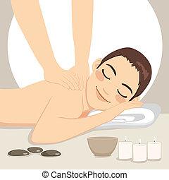 spa, délassant, masage, homme